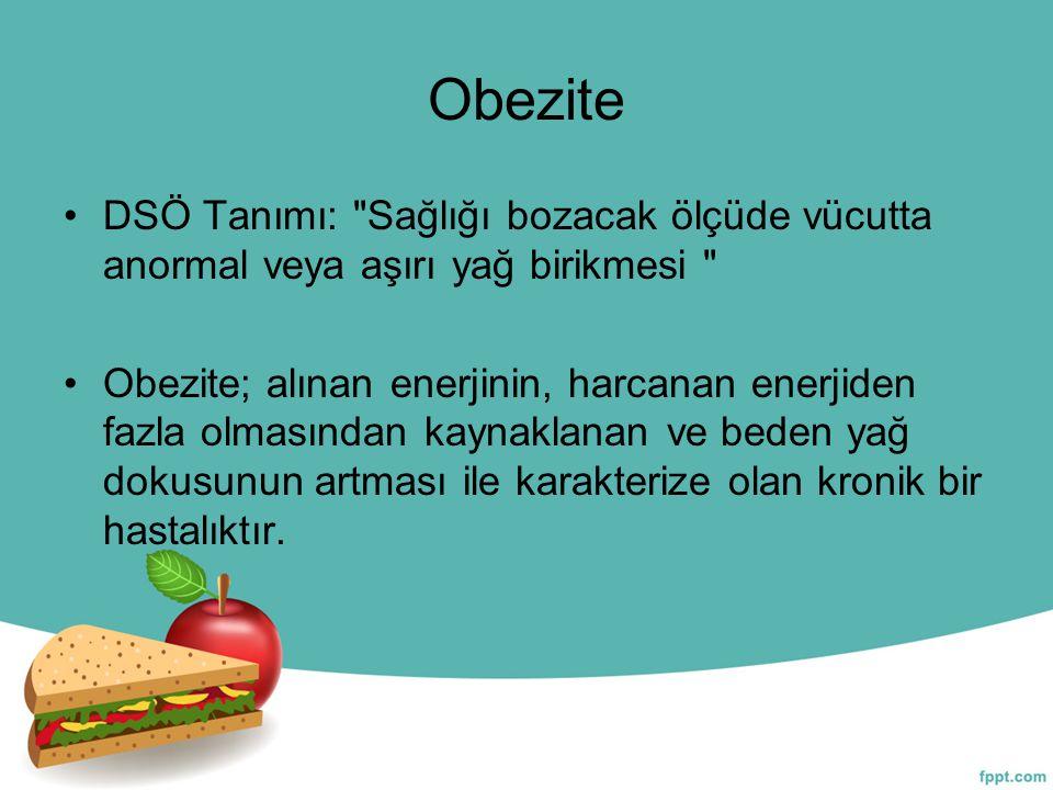 Obeziteyi belirlemek için DSÖ nün obezite sınıflandırması kullanılmakta ve Beden Kitle İndeksi (BKİ) esas alınmaktadır.