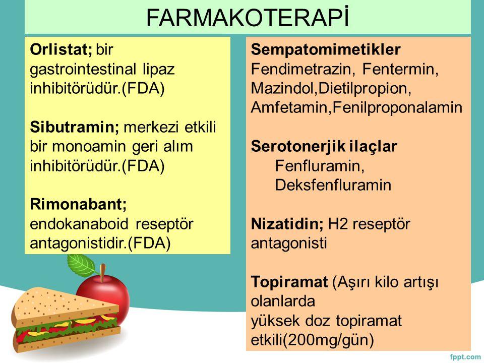 Sempatomimetikler Fendimetrazin, Fentermin, Mazindol,Dietilpropion, Amfetamin,Fenilproponalamin Serotonerjik ilaçlar Fenfluramin, Deksfenfluramin Niza