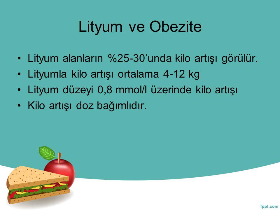 Lityum ve Obezite Lityum alanların %25-30'unda kilo artışı görülür. Lityumla kilo artışı ortalama 4-12 kg Lityum düzeyi 0,8 mmol/l üzerinde kilo artış