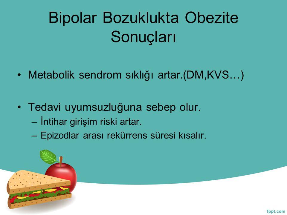 Bipolar Bozuklukta Obezite Sonuçları Metabolik sendrom sıklığı artar.(DM,KVS…) Tedavi uyumsuzluğuna sebep olur. –İntihar girişim riski artar. –Epizodl
