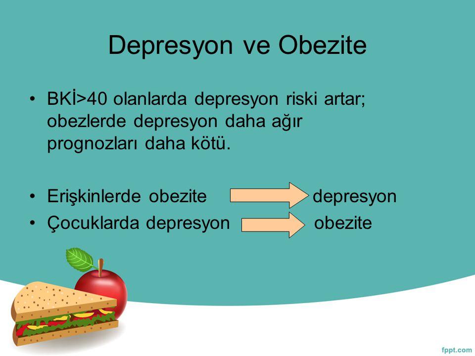 Depresyon ve Obezite BKİ>40 olanlarda depresyon riski artar; obezlerde depresyon daha ağır prognozları daha kötü. Erişkinlerde obezite depresyon Çocuk