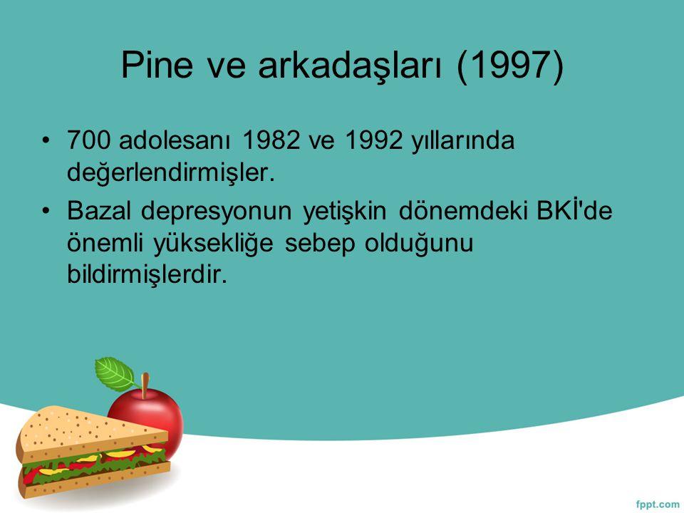 Pine ve arkadaşları (1997) 700 adolesanı 1982 ve 1992 yıllarında değerlendirmişler. Bazal depresyonun yetişkin dönemdeki BKİ'de önemli yüksekliğe sebe