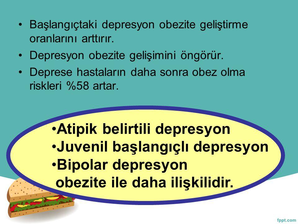 Başlangıçtaki depresyon obezite geliştirme oranlarını arttırır. Depresyon obezite gelişimini öngörür. Deprese hastaların daha sonra obez olma riskleri