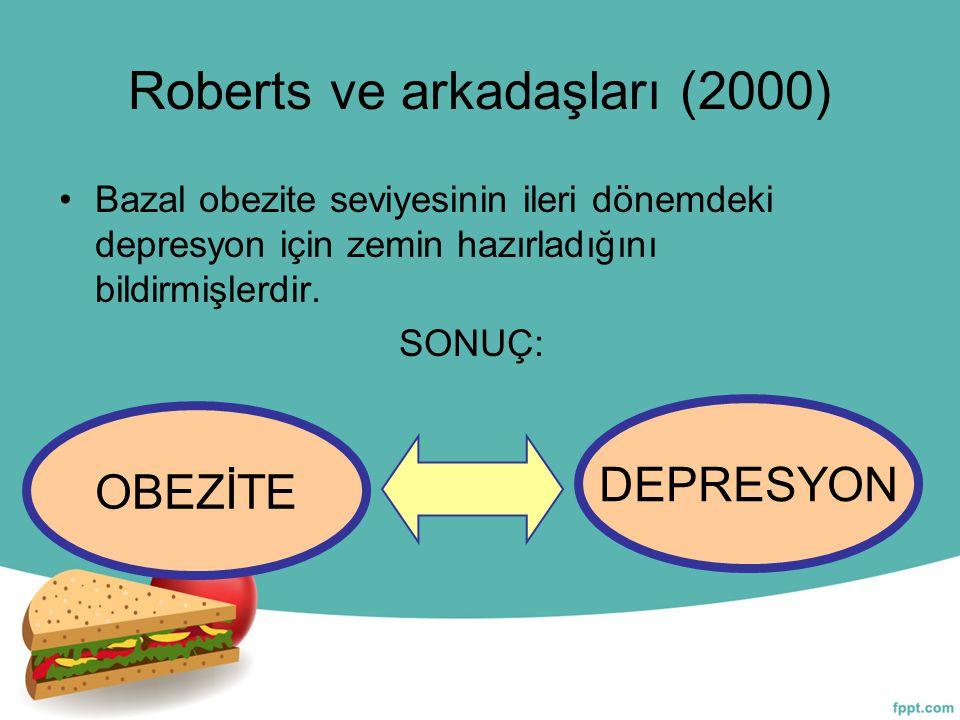 Roberts ve arkadaşları (2000) Bazal obezite seviyesinin ileri dönemdeki depresyon için zemin hazırladığını bildirmişlerdir. SONUÇ: OBEZİTE DEPRESYON