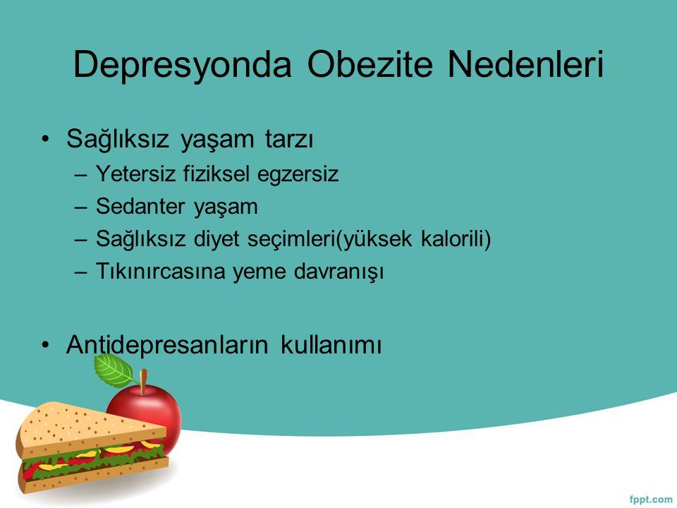 Depresyonda Obezite Nedenleri Sağlıksız yaşam tarzı –Yetersiz fiziksel egzersiz –Sedanter yaşam –Sağlıksız diyet seçimleri(yüksek kalorili) –Tıkınırca