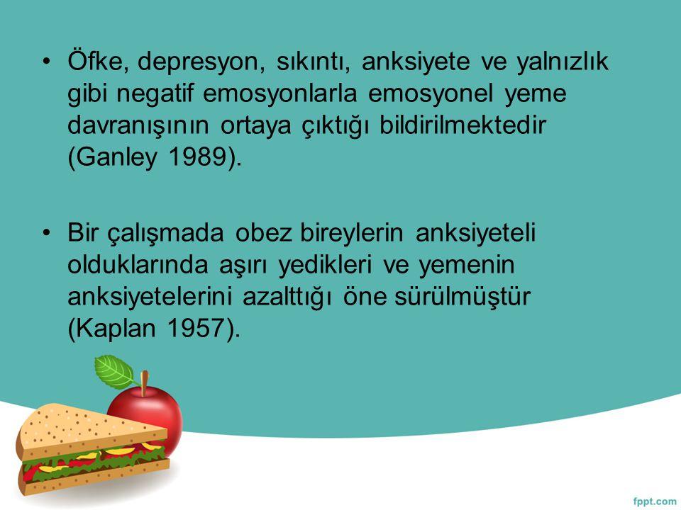 Öfke, depresyon, sıkıntı, anksiyete ve yalnızlık gibi negatif emosyonlarla emosyonel yeme davranışının ortaya çıktığı bildirilmektedir (Ganley 1989).