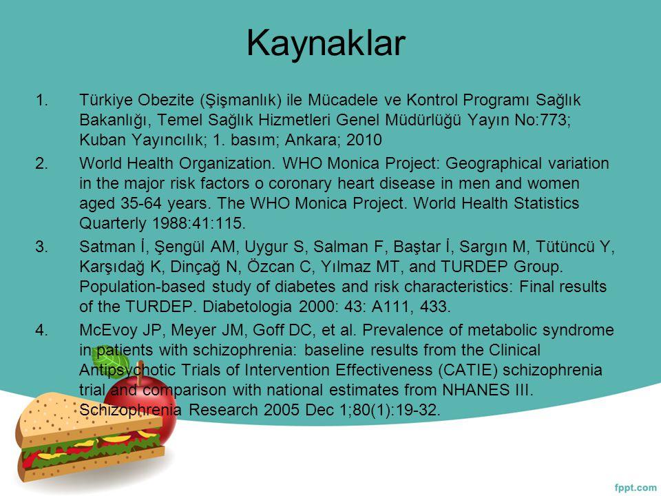 Kaynaklar 1.Türkiye Obezite (Şişmanlık) ile Mücadele ve Kontrol Programı Sağlık Bakanlığı, Temel Sağlık Hizmetleri Genel Müdürlüğü Yayın No:773; Kuban