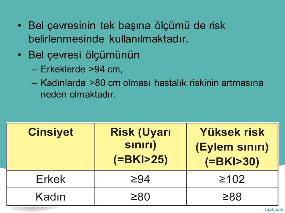 Bel çevresinin tek başına ölçümü de risk belirlenmesinde kullanılmaktadır. Bel çevresi ölçümünün –Erkeklerde >94 cm, –Kadınlarda >80 cm olması hastalı