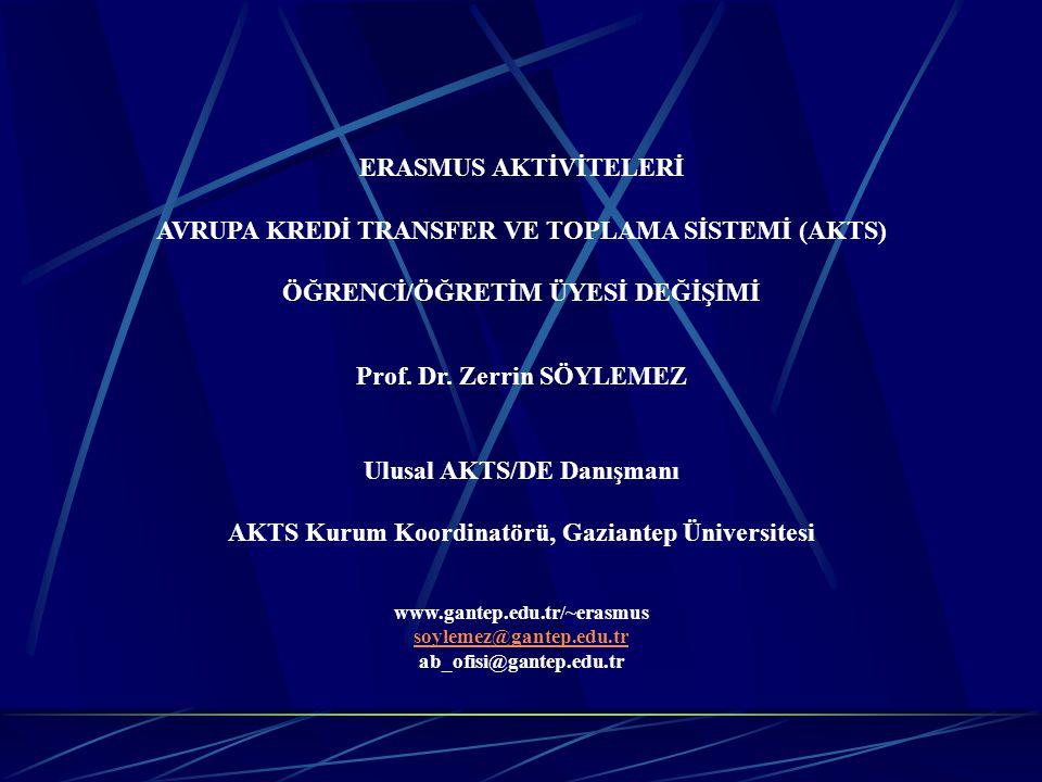 ERASMUS AKTİVİTELERİ AVRUPA KREDİ TRANSFER VE TOPLAMA SİSTEMİ (AKTS) ÖĞRENCİ/ÖĞRETİM ÜYESİ DEĞİŞİMİ Prof. Dr. Zerrin SÖYLEMEZ Ulusal AKTS/DE Danışmanı