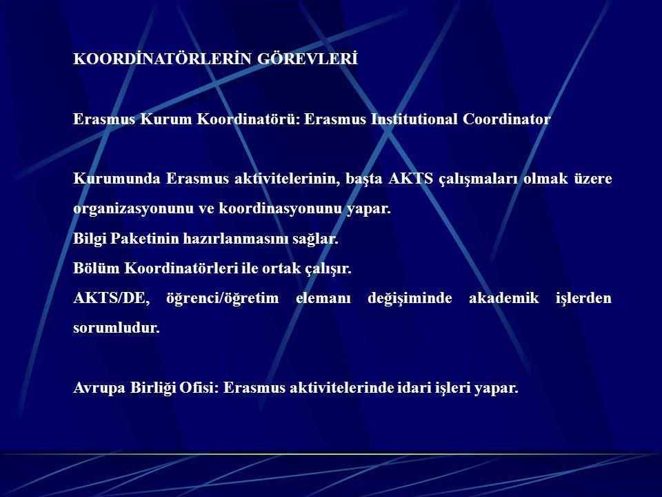 KOORDİNATÖRLERİN GÖREVLERİ Erasmus Kurum Koordinatörü: Erasmus Institutional Coordinator Kurumunda Erasmus aktivitelerinin, başta AKTS çalışmaları olm