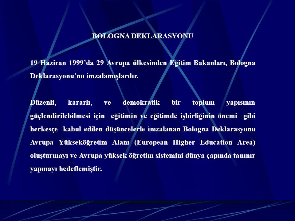 BOLOGNA DEKLARASYONU 19 Haziran 1999'da 29 Avrupa ülkesinden Eğitim Bakanları, Bologna Deklarasyonu'nu imzalamışlardır. Düzenli, kararlı, ve demokrati