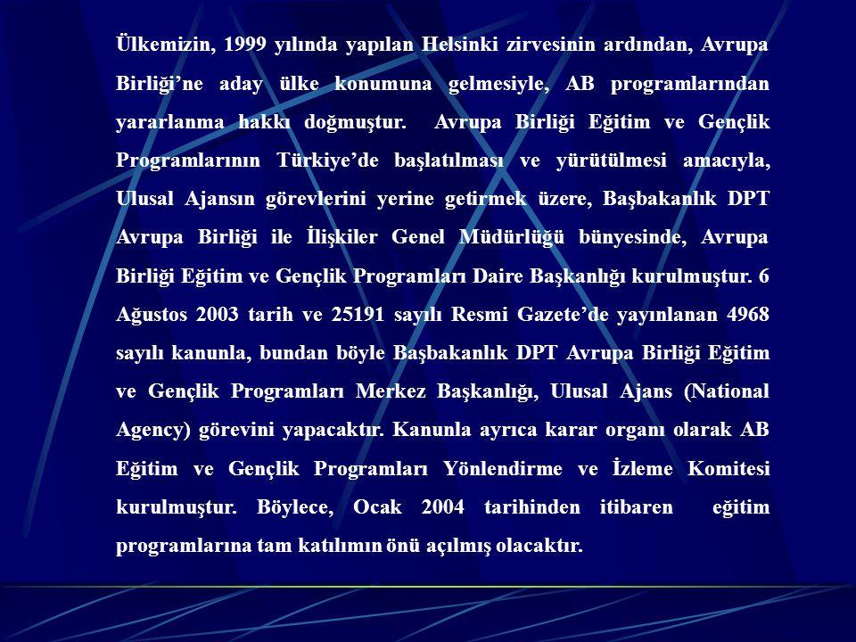 Ülkemizin, 1999 yılında yapılan Helsinki zirvesinin ardından, Avrupa Birliği'ne aday ülke konumuna gelmesiyle, AB programlarından yararlanma hakkı doğ