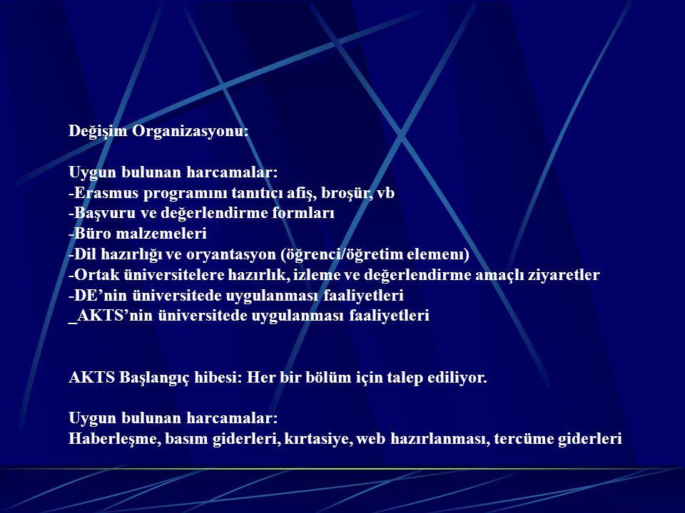 Değişim Organizasyonu: Uygun bulunan harcamalar: -Erasmus programını tanıtıcı afiş, broşür, vb -Başvuru ve değerlendirme formları -Büro malzemeleri -D
