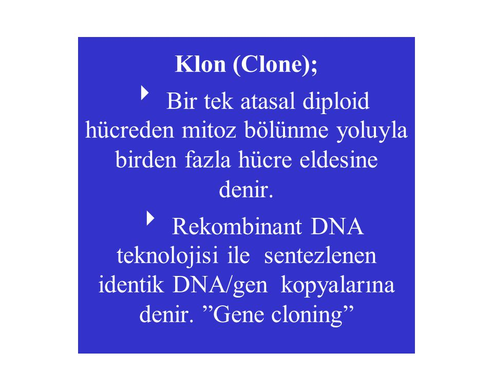 Genetik Klonlamada Tarihçe Gelişme Araştırıcı Yıl  Deniz hayvanlarında döllenme O.Hertwig 1875  İlk kez anne rahmi dışında döllenme L.Schenk 1878  Tüp ortamında insan yumurta hücresi döllendi MF Menkin 1944  Dondurulmuş sperm ile inek yumurtası döllendi 1952  Deney tüpünde döllenen bir memeli yavru doğdu 1959  Dondurulmuş embriyodan yavru fareler elde edildi 1972  Louise Brown isimli bebek deney tüpünde döllendi anne rahmine yerleştirilerek sağlıklı doğum yaptırıldı 1978  Avusturalyada donmuş embriyodan sağlıklı bir kız çocuğu elde edildi 1984