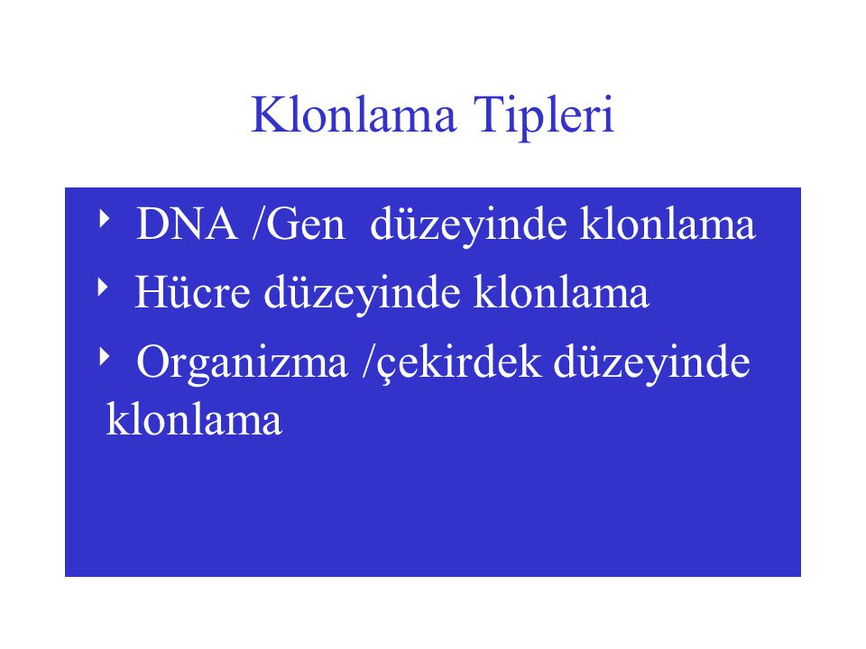 Başarılı Klonlama Yapabilmek İçin Gen;  Bağımsız olarak replike olabilmeli  Konak hücreye kolaylıkla transfer edilebilmeli  Seleksiyona olanak tanımalı