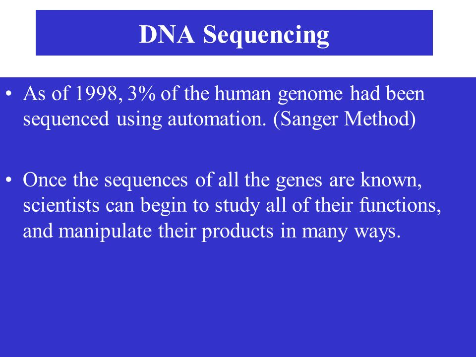 DNA Sequencing As of 1998, 3% of the human genome had been sequenced using automation. (Sanger Method) Once the sequences of all the genes are known,