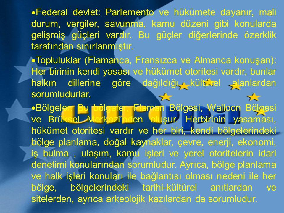  Federal devlet: Parlemento ve hükümete dayanır, mali durum, vergiler, savunma, kamu düzeni gibi konularda gelişmiş güçleri vardır. Bu güçler diğerle