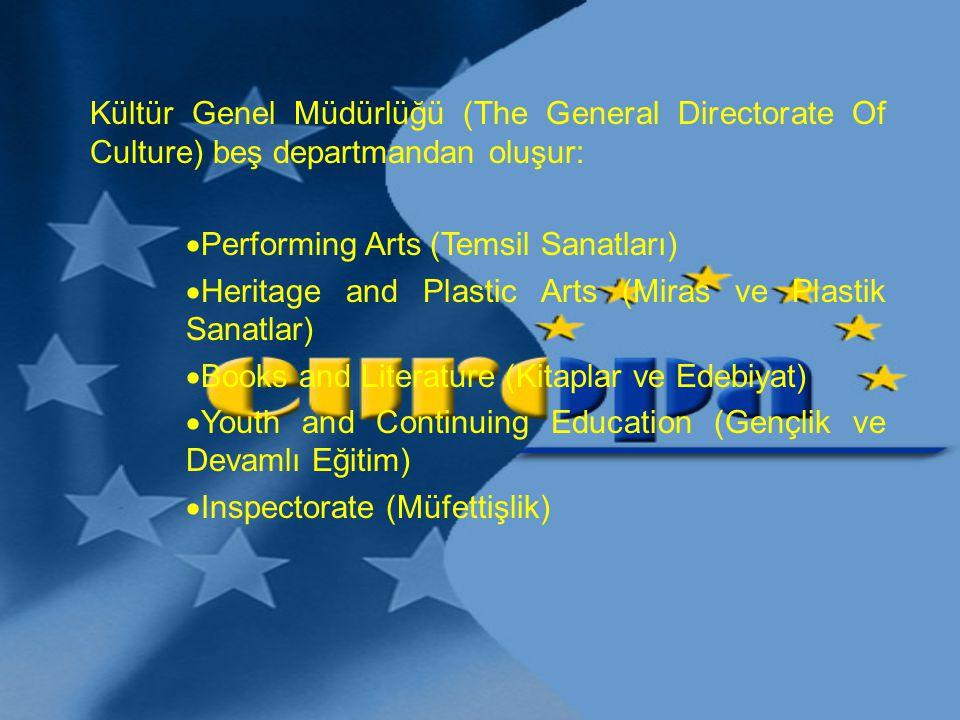 Kültür Genel Müdürlüğü (The General Directorate Of Culture) beş departmandan oluşur:  Performing Arts (Temsil Sanatları)  Heritage and Plastic Arts