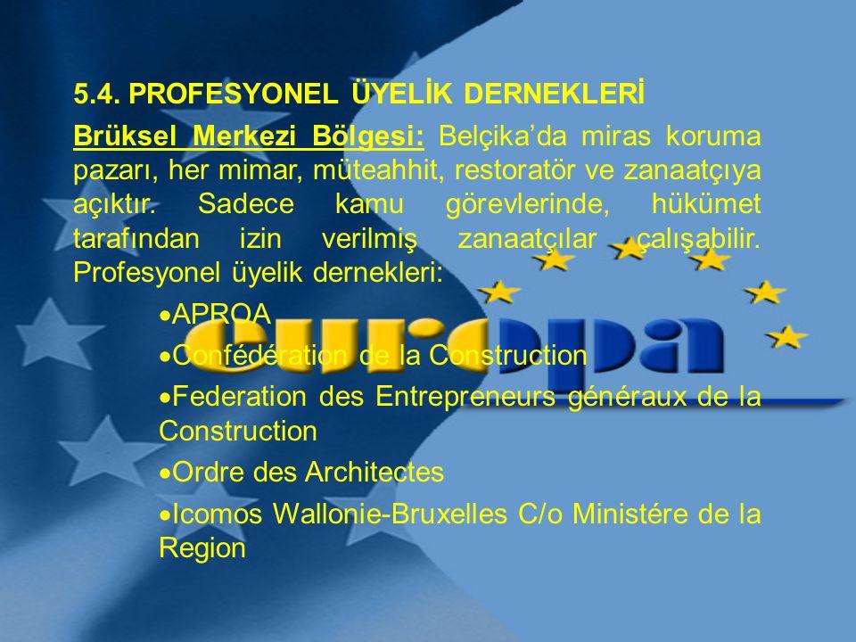 5.4. PROFESYONEL ÜYELİK DERNEKLERİ Brüksel Merkezi Bölgesi: Belçika'da miras koruma pazarı, her mimar, müteahhit, restoratör ve zanaatçıya açıktır. Sa