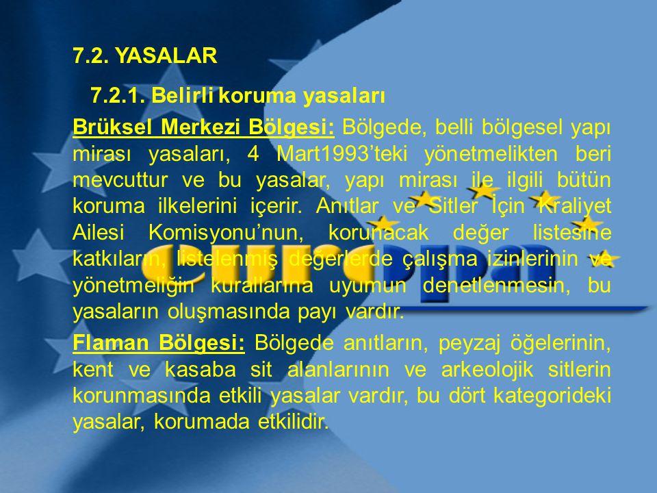 7.2. YASALAR 7.2.1. Belirli koruma yasaları Brüksel Merkezi Bölgesi: Bölgede, belli bölgesel yapı mirası yasaları, 4 Mart1993'teki yönetmelikten beri