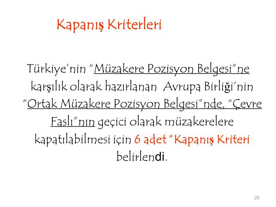 28 Kapanış Kriterleri Türkiye'nin Müzakere Pozisyon Belgesi ne karşılık olarak hazırlanan Avrupa Birliği'nin Ortak Müzakere Pozisyon Belgesi nde, Çevre Faslı nın geçici olarak müzakerelere kapatılabilmesi için 6 adet Kapanış Kriteri belirlendi.
