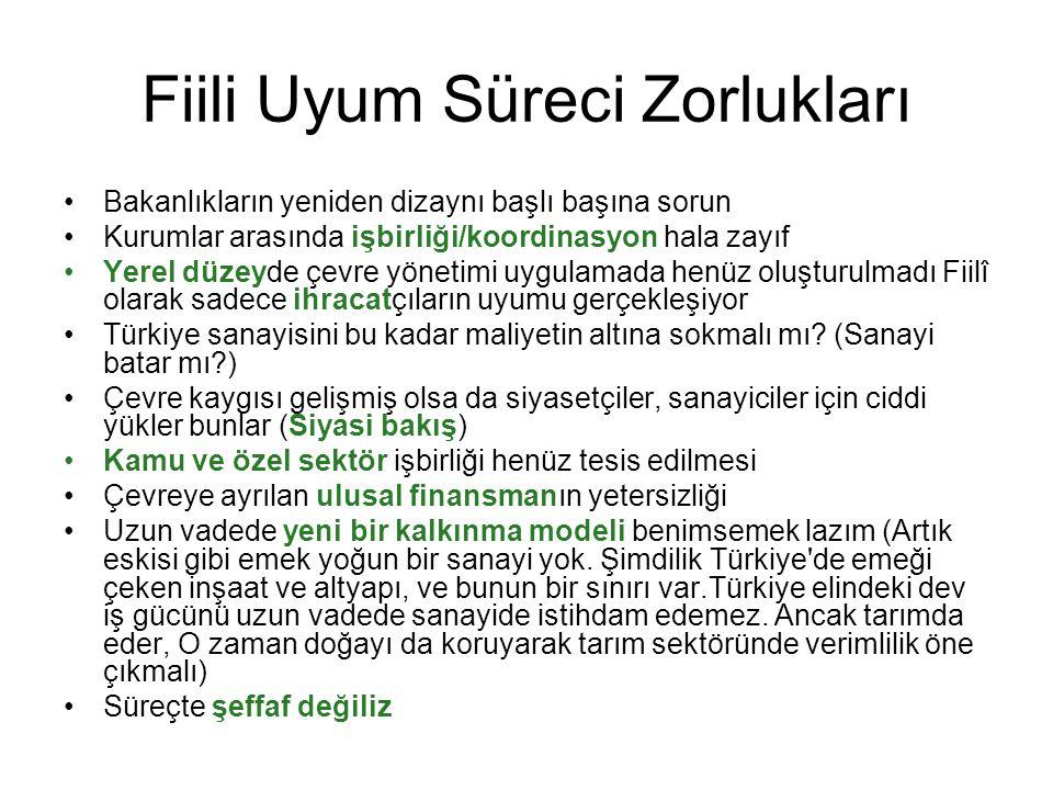 Fiili Uyum Süreci Zorlukları Bakanlıkların yeniden dizaynı başlı başına sorun Kurumlar arasında işbirliği/koordinasyon hala zayıf Yerel düzeyde çevre yönetimi uygulamada henüz oluşturulmadı Fiilî olarak sadece ihracatçıların uyumu gerçekleşiyor Türkiye sanayisini bu kadar maliyetin altına sokmalı mı.