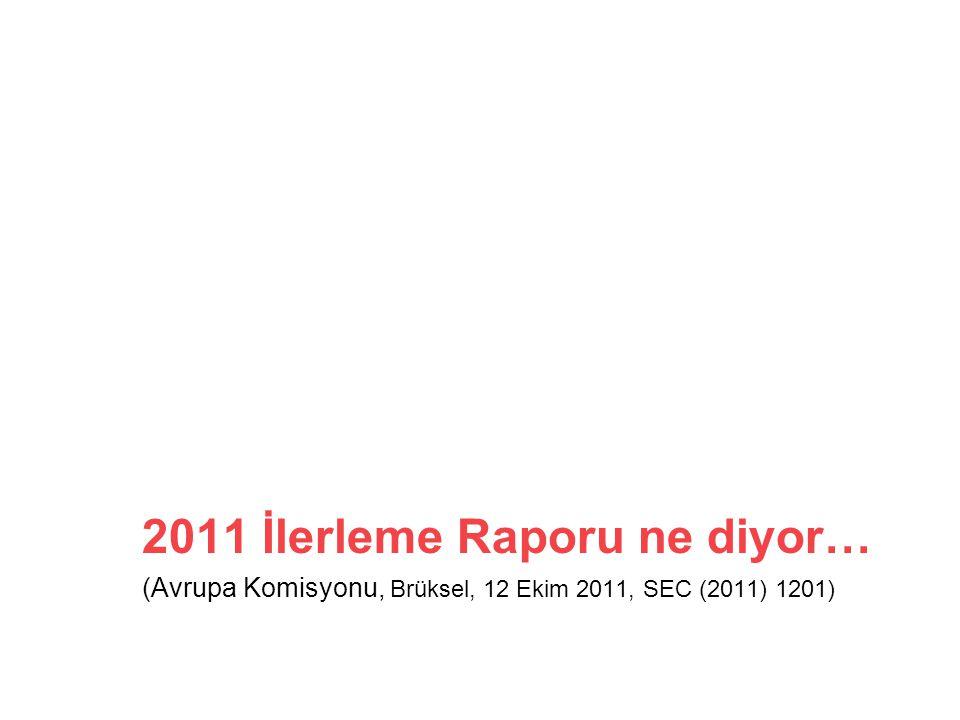 2011 İlerleme Raporu ne diyor… (Avrupa Komisyonu, Brüksel, 12 Ekim 2011, SEC (2011) 1201)