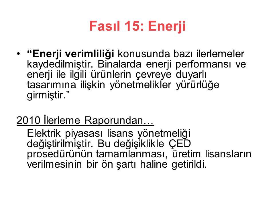 Fasıl 15: Enerji Enerji verimliliği konusunda bazı ilerlemeler kaydedilmiştir.