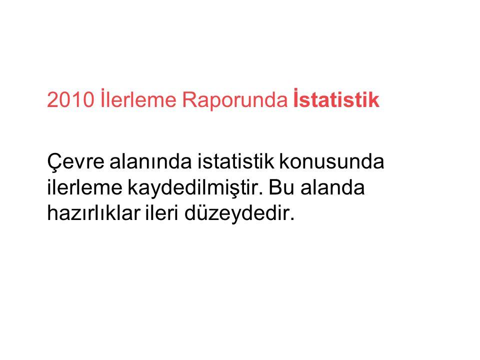 2010 İlerleme Raporunda İstatistik Çevre alanında istatistik konusunda ilerleme kaydedilmiştir.