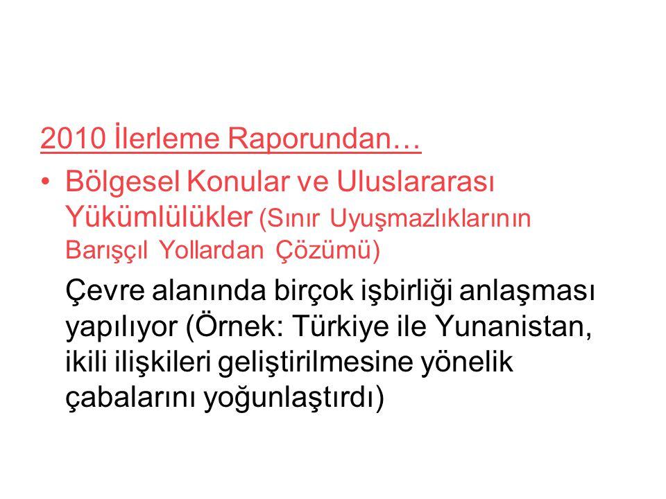2010 İlerleme Raporundan… Bölgesel Konular ve Uluslararası Yükümlülükler (Sınır Uyuşmazlıklarının Barışçıl Yollardan Çözümü) Çevre alanında birçok işbirliği anlaşması yapılıyor (Örnek: Türkiye ile Yunanistan, ikili ilişkileri geliştirilmesine yönelik çabalarını yoğunlaştırdı)