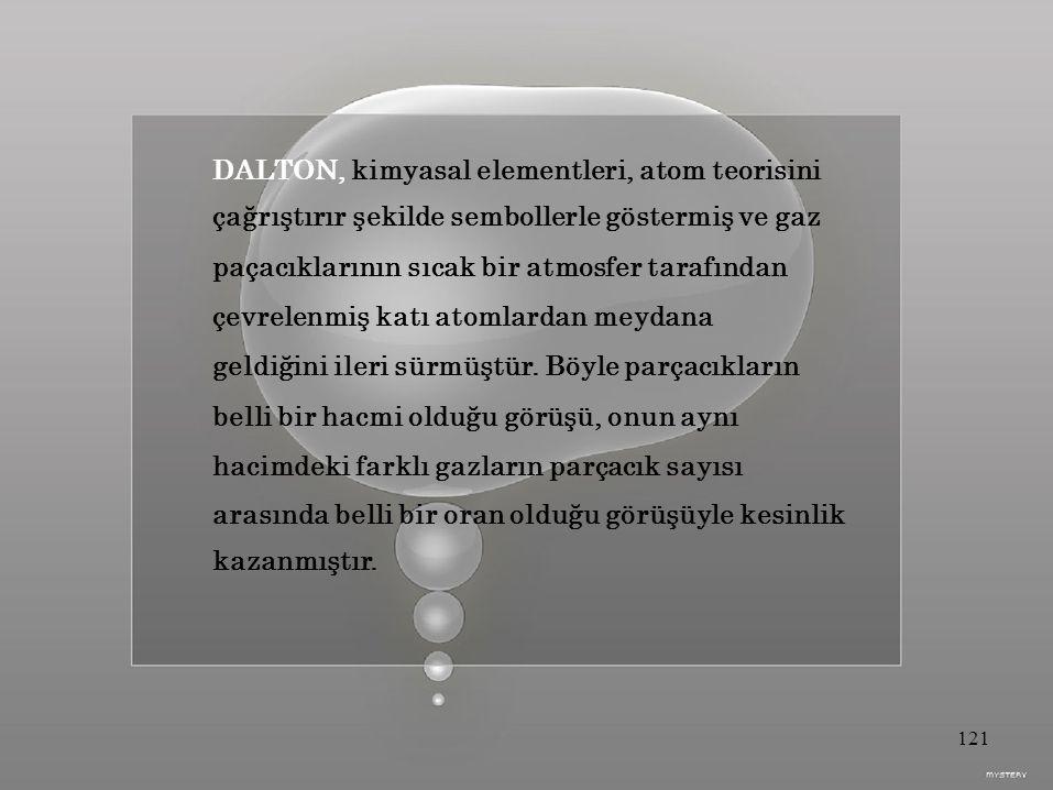 DALTON, kimyasal elementleri, atom teorisini çağrıştırır şekilde sembollerle göstermiş ve gaz paçacıklarının sıcak bir atmosfer tarafından çevrelenmiş katı atomlardan meydana geldiğini ileri sürmüştür.