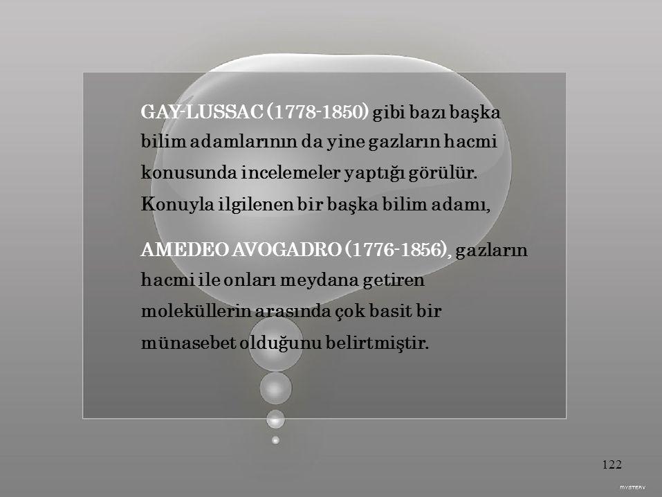 GAY-LUSSAC (1778-1850) gibi bazı başka bilim adamlarının da yine gazların hacmi konusunda incelemeler yaptığı görülür.