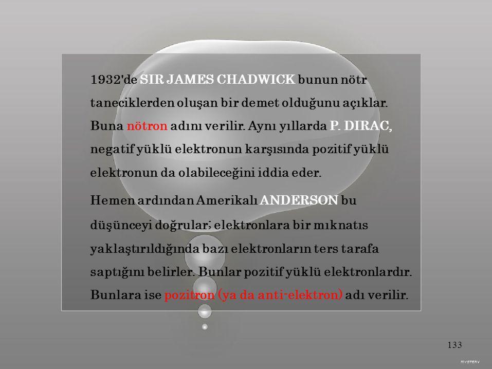 1932 de SIR JAMES CHADWICK bunun nötr taneciklerden oluşan bir demet olduğunu açıklar.