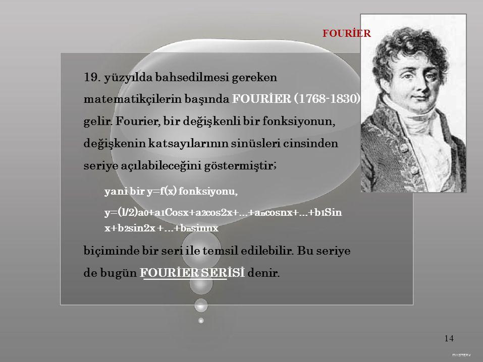 FOURİER 19.yüzyılda bahsedilmesi gereken matematikçilerin başında FOURİER (1768-1830) gelir.