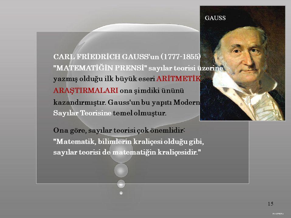 GAUSS CARL FRİEDRİCH GAUSS'un (1777-1855) MATEMATİĞİN PRENSİ sayılar teorisi üzerine yazmış olduğu ilk büyük eseri ARİTMETİK ARAŞTIRMALARI ona şimdiki ününü kazandırmıştır.