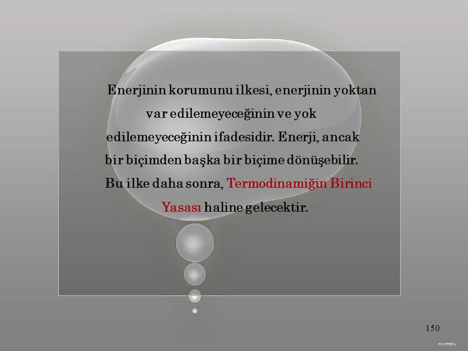 Enerjinin korumunu ilkesi, enerjinin yoktan var edilemeyeceğinin ve yok edilemeyeceğinin ifadesidir.