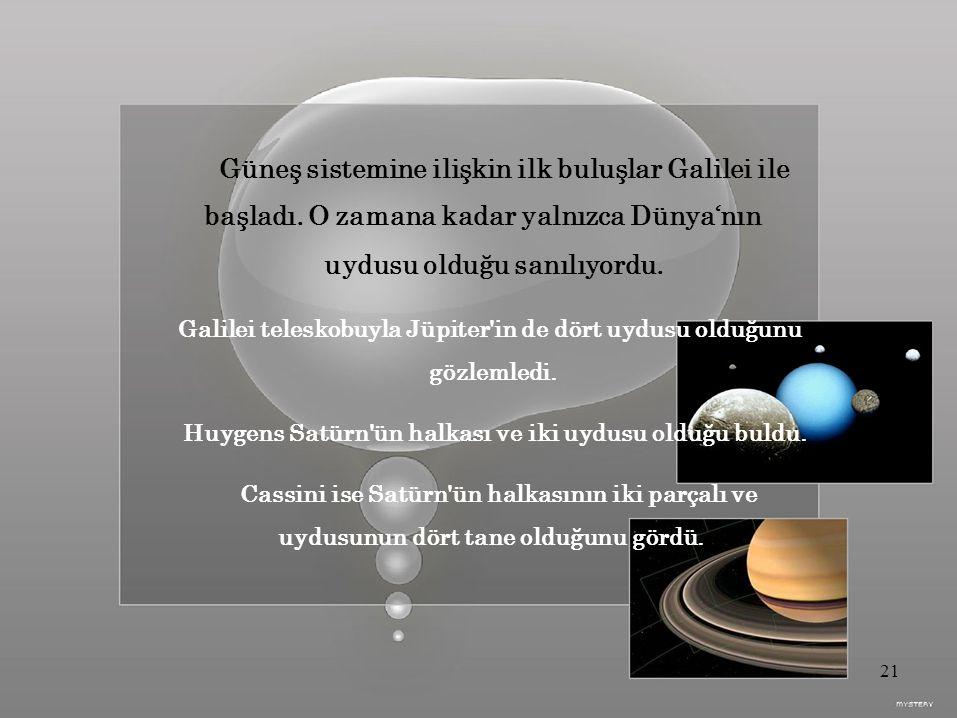 Güneş sistemine ilişkin ilk buluşlar Galilei ile başladı.