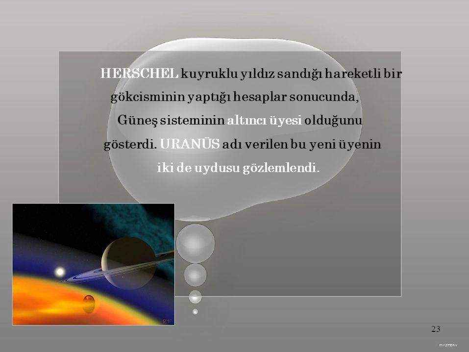 HERSCHEL kuyruklu yıldız sandığı hareketli bir gökcisminin yaptığı hesaplar sonucunda, Güneş sisteminin altıncı üyesi olduğunu gösterdi.
