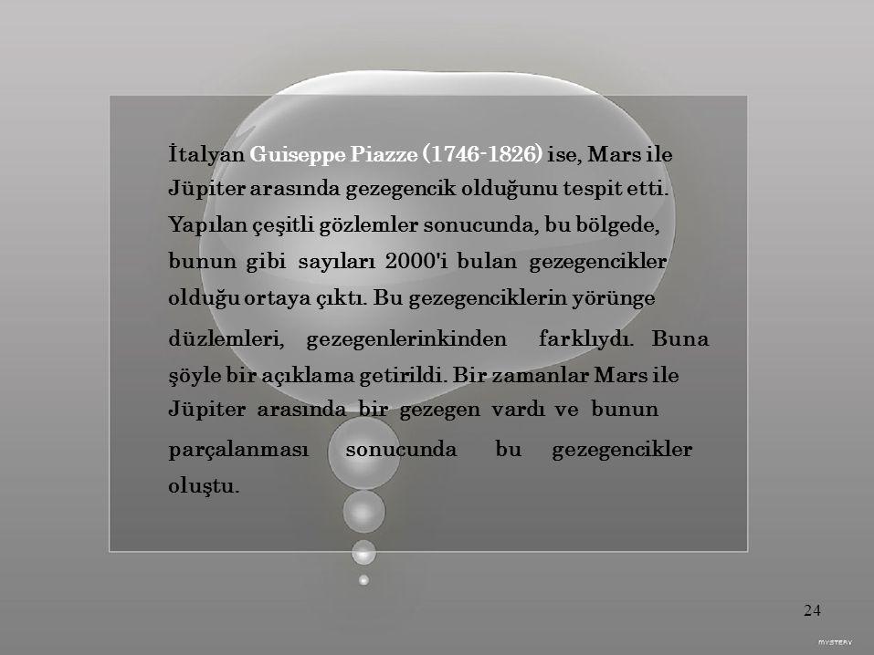 bu İtalyan Guiseppe Piazze (1746-1826) ise, Mars ile Jüpiter arasında gezegencik olduğunu tespit etti.