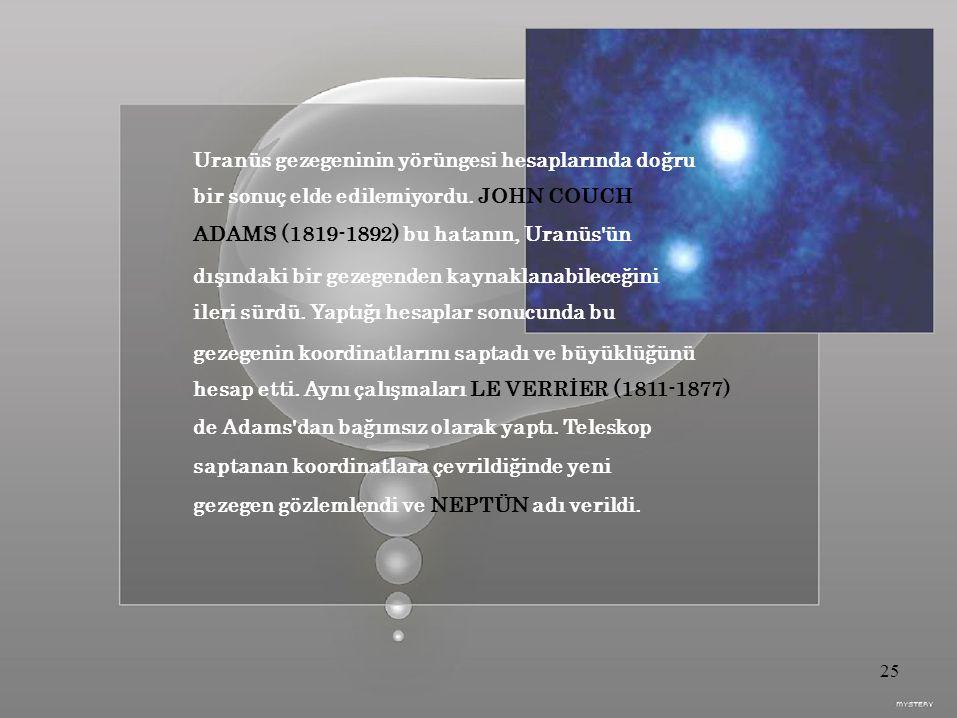 Uranüs gezegeninin yörüngesi hesaplarında doğru bir sonuç elde edilemiyordu.