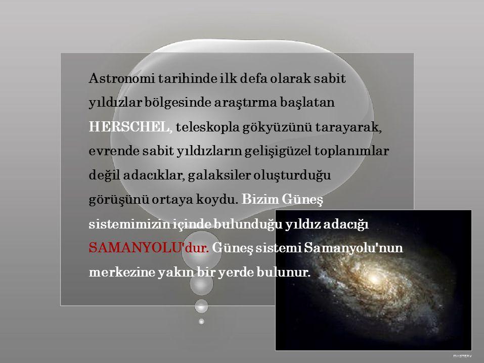 Astronomi tarihinde ilk defa olarak sabit yıldızlar bölgesinde araştırma başlatan HERSCHEL, teleskopla gökyüzünü tarayarak, evrende sabit yıldızların gelişigüzel toplanımlar değil adacıklar, galaksiler oluşturduğu görüşünü ortaya koydu.