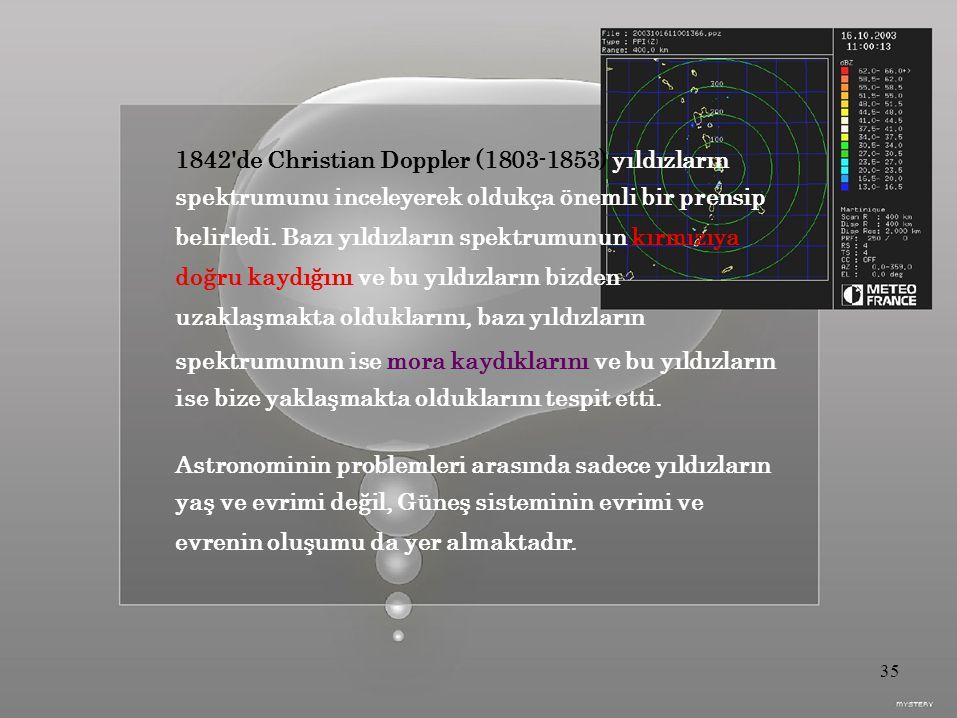 1842 de Christian Doppler (1803-1853) yıldızların spektrumunu inceleyerek oldukça önemli bir prensip belirledi.