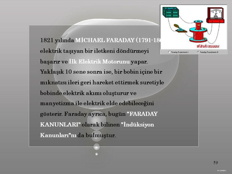 1821 yılında MİCHAEL FARADAY (1791-1867), elektrik taşıyan bir iletkeni döndürmeyi başarır ve İlk Elektrik Motorunu yapar.
