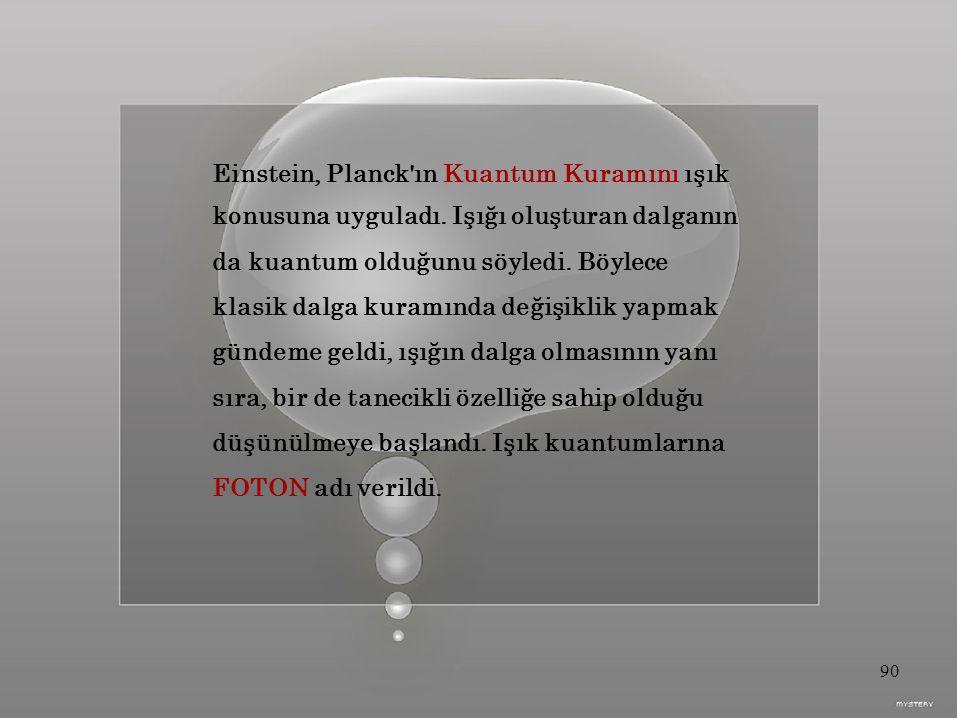 Einstein, Planck ın Kuantum Kuramını ışık konusuna uyguladı.
