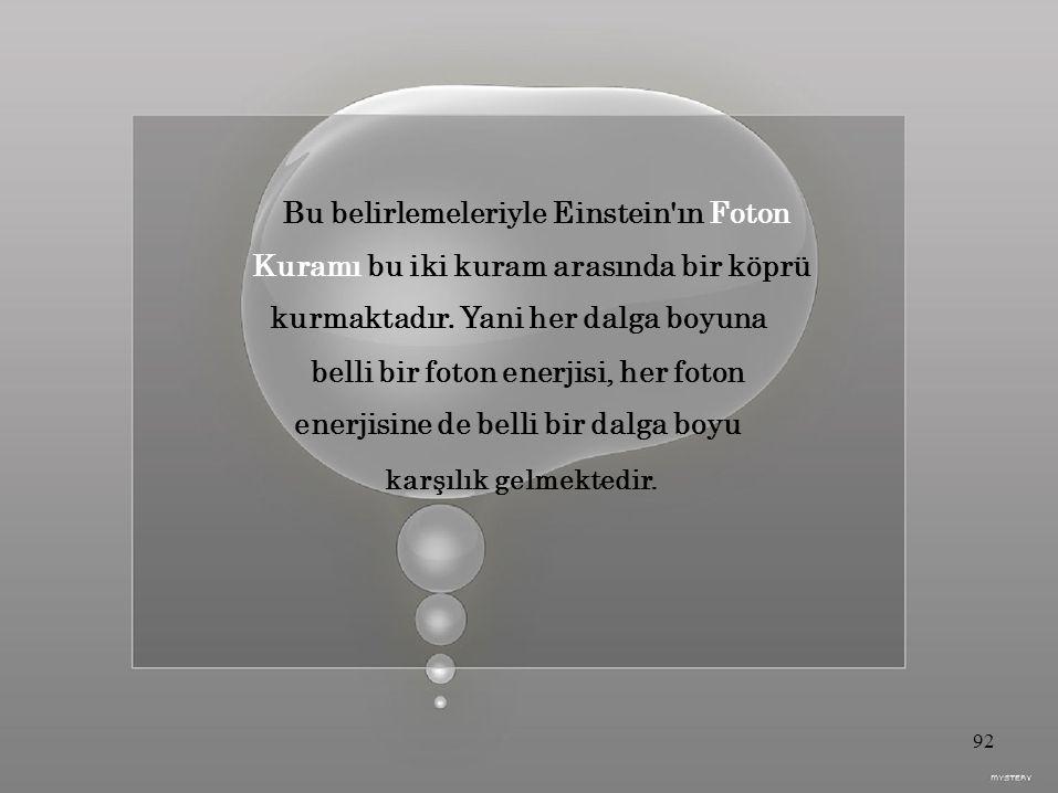 Bu belirlemeleriyle Einstein ın Foton Kuramı bu iki kuram arasında bir köprü kurmaktadır.