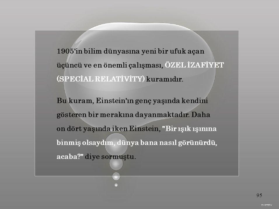 1905 in bilim dünyasına yeni bir ufuk açan üçüncü ve en önemli çalışması, ÖZEL İZAFİYET (SPECİAL RELATİVİTY) kuramıdır.