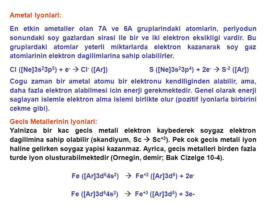 Ametal Iyonlari: En etkin ametaller olan 7A ve 6A gruplarindaki atomlarin, periyodun sonundaki soy gazlardan sirasi ile bir ve iki elektron eksikligi