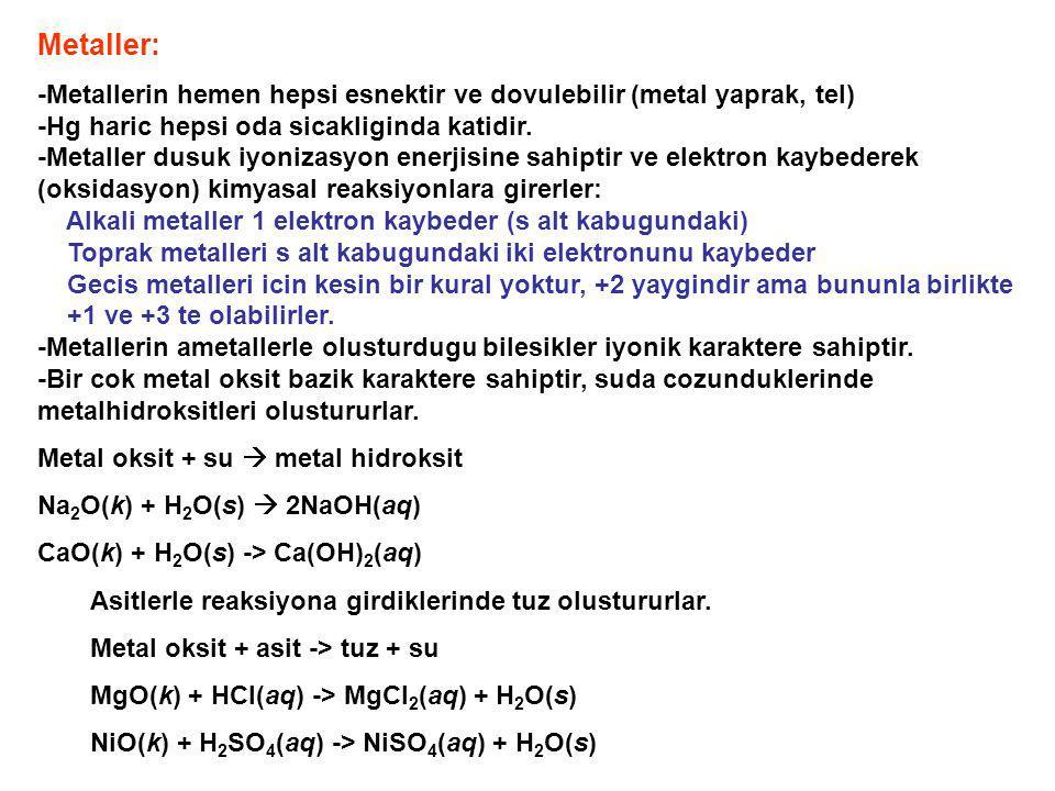Metaller: -Metallerin hemen hepsi esnektir ve dovulebilir (metal yaprak, tel) -Hg haric hepsi oda sicakliginda katidir. -Metaller dusuk iyonizasyon en