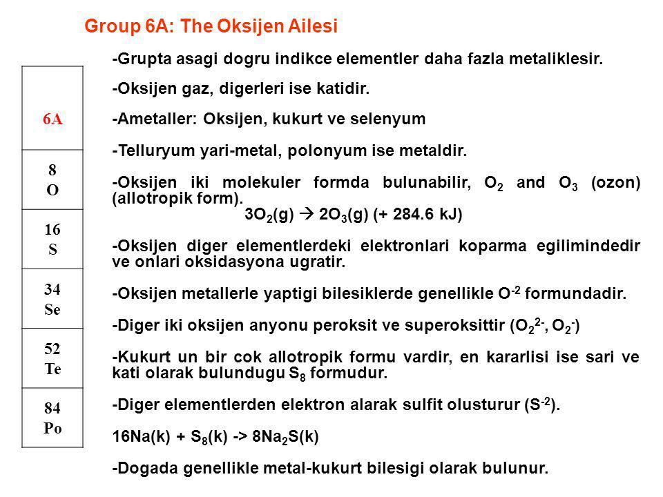 Group 6A: The Oksijen Ailesi 6A 8O8O 16 S 34 Se 52 Te 84 Po -Grupta asagi dogru indikce elementler daha fazla metaliklesir. -Oksijen gaz, digerleri is