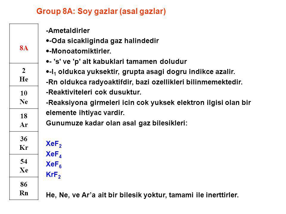 Group 8A: Soy gazlar (asal gazlar) 8A 2 He 10 Ne 18 Ar 36 Kr 54 Xe 86 Rn -Ametaldirler  -Oda sicakliginda gaz halindedir  -Monoatomiktirler.  - 's'